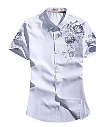 billige -Herre - Geometrisk Trykt mønster Basale Skjorte