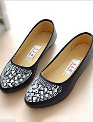 abordables -Femme Chaussures Tissu Eté Automne Confort Ballerines Talon Plat pour Blanc Noir Gris
