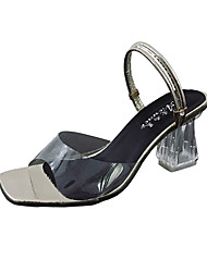 お買い得  -女性用 靴 PUレザー 春 コンフォートシューズ サンダル チャンキーヒール ラウンドトウ のために カジュアル ゴールド シルバー