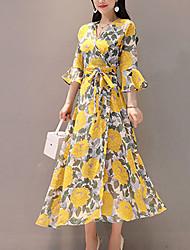 Недорогие -Жен. На выход Уличный стиль / Изысканный Тонкие Оболочка Платье - Цветочный принт, С принтом V-образный вырез Средней длины