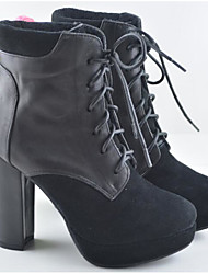 cheap -Women's Shoes Cowhide Winter Fashion Boots Boots Chunky Heel Booties / Ankle Boots Black