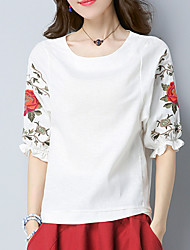 cheap -Women's Holiday Chinoiserie Cotton T-shirt - Floral Embroidered