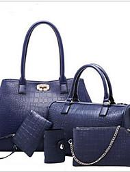 povoljno -Žene Torbe PU Bag Setovi 5 kom Patent-zatvarač za Kauzalni Sva doba Plava Crn Red