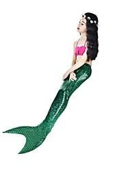 baratos -The Little Mermaid Roupa de Banho Bikini Crianças Vintage Activo Dia Das Bruxas Carnaval Dia da Criança Festival / Celebração Trajes da Noite das Bruxas Roupa fúcsia sereia