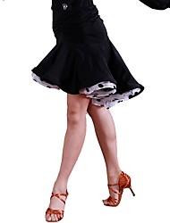 baratos -Dança Latina Tutos e Saias Mulheres Treino Organza Seda Sintética Franzido Natural Saias