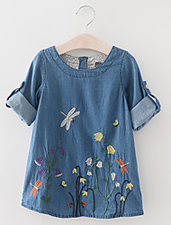 cheap -Girl's Daily Holiday Floral Dress, Cotton Spring Summer Short Sleeves Vintage Active Blue