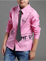 economico -Camicia Da ragazzo Cotone Tinta unita A strisce Alfabetico Primavera Autunno Maniche lunghe Semplice Bianco Nero Rosa