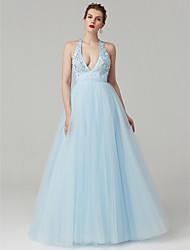 cheap -A-Line / Princess Plunging Neck Sweep / Brush Train Satin / Tulle Celebrity Style Prom / Formal Evening Dress with Beading / Crystals by TS Couture®