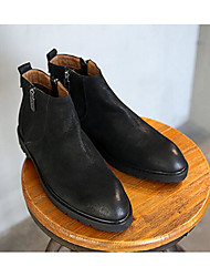 baratos -Homens Curta/Ankle Pele Inverno Forro de fluff Botas Botas Curtas / Ankle Preto / Café