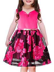cheap -Girl's Casual/Daily Going out Solid Flower/Floral Embroidered Dress, Cotton Polyester Spring, Fall, Winter, Summer All Seasons Sleeveless