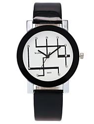 Недорогие -Жен. Повседневные часы / Модные часы / Имитационная Четырехугольник Часы Китайский Повседневные часы / Имитация Алмазный PU Группа На каждый день / Мода Черный / Белый / Один год