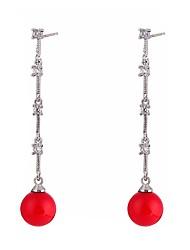 abordables -Femme Bohème Goutte Zircon / Perle Perle / Zircon Boucles d'oreille goutte - Bohème / Mode / Pierre Rouge Forme de Cercle Des boucles
