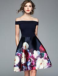 abordables -Femme Basique Trapèze Robe - Imprimé, Fleur Bateau Au dessus du genou