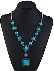 abordables -Mujer Turquesa Collares con colgantes - Vintage, Europeo, Étnico Verde pavo real 69 cm Gargantillas Para Fiesta / Noche, Fiesta de Noche