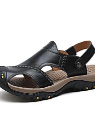 お買い得  -男性用 靴 レザー レザーレット 春 夏 コンフォートシューズ サンダル のために カジュアル ブラック Brown カーキ色