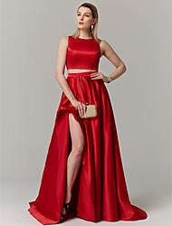 abordables -Princesa / Dos Piezas Joya Larga Satén Dos Piezas Fiesta de baile / Evento Formal Vestido con Frontal Abierto por TS Couture®