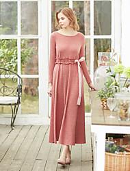 levne -Dámské Vintage Pouzdro Šaty - Jednobarevné, Nabírané šaty Maxi