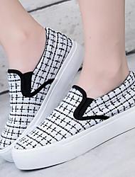 povoljno -Žene Cipele Platno Proljeće Jesen Udobne cipele Natikače i mokasinke Ravna potpetica Okrugli Toe za Kauzalni Obala Crn