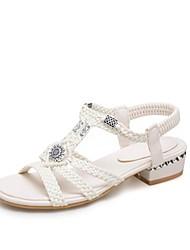 abordables -Femme Chaussures Nylon Eté Confort Sandales Talon Bottier Bout ouvert Blanc / Amande / Soirée & Evénement