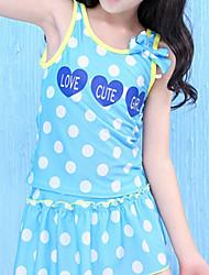 abordables -Fille Mignon Points Polka Maillots de Bain, Polyester Sans Manches Bleu