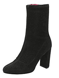 povoljno -Žene Cipele Sintetika, mikrofibra, PU Proljeće Jesen Modne čizme Udobne cipele Čizme Kockasta potpetica Zatvorena Toe Čizme do pola lista