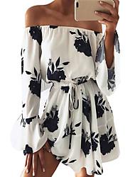 cheap -Women's Street chic Boho Chiffon Dress - Floral, Print