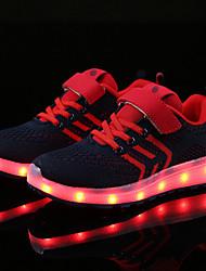 Недорогие -Мальчики Обувь Трикотаж / Тюль Лето Удобная обувь / Обувь с подсветкой Кеды LED для Темно-синий / Черно-белый / Тёмно-синий