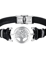 Недорогие -Муж. Кожаные браслеты - Нержавеющая сталь, Кожа Дерево жизни Мода Браслеты Черный Назначение Повседневные