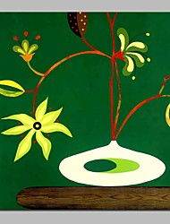 abordables -Pintura al óleo pintada a colgar Pintada a mano - Abstracto Naturaleza muerta Contemporáneo Lona