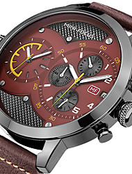 cheap -Men's Quartz Dress Watch Chronograph / Large Dial / Punk / Cool Genuine Leather Band Luxury Black / Blue / Brown
