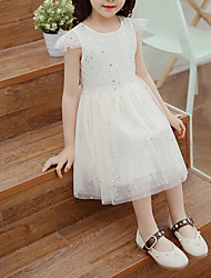 cheap -Toddler Girls' Solid Colored Short Sleeve Knee-length Dress / Cotton / Cute