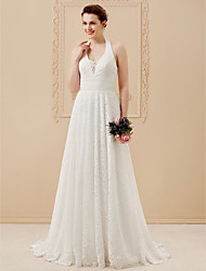 cheap -A-Line Halter Neck Floor Length All Over Lace Made-To-Measure Wedding Dresses with Lace / Sashes / Ribbons by LAN TING BRIDE® / Open Back