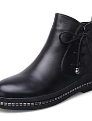 Недорогие -Жен. Обувь Кожа Осень / Зима Армейские ботинки Ботинки На низком каблуке Круглый носок Ботинки Черный
