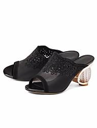 povoljno -Žene Cipele Koža Ljeto Udobne cipele Sandale Heterotipski peta za Kauzalni Crn Sive boje