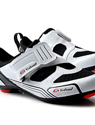 cheap -Tiebao® Men's Road Shoes Nylon and Carbon Fiber Anti-Slip, Wearable, Breathability Breathable Mesh Road Cycling White / Black