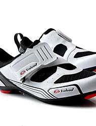 baratos -Tiebao® Tênis para Ciclismo Fibra de Carbono Anti-Escorregar, Vestível, Respirabilidade Ciclismo Branco / Preto Homens