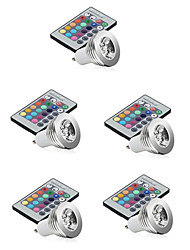 baratos -5pçs 3W 250lm E14 GU10 GU5.3 E26 / E27 Lâmpadas de Foco de LED 1 Contas LED LED de Alta Potência Regulável Decorativa Controle Remoto RGB