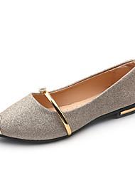 baratos -Mulheres Sapatos Paetês Primavera Verão Conforto Rasos Sem Salto Dedo Apontado para Escritório e Carreira Dourado / Preto / Prateado