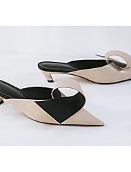 preiswerte -Damen Schuhe Leder Frühling / Sommer Komfort Cloggs & Pantoletten Stöckelabsatz Schwarz / Mandelfarben