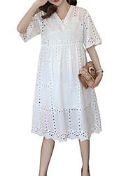 abordables -Femme Grandes Tailles Coton Ample Trapèze Robe Couleur Pleine Col en V Mi-long