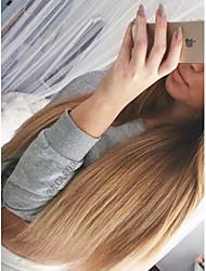 abordables -Sin procesar Agarre en U Peluca Cabello Brasileño Recto Rubio Peluca Corte a capas 130% Pelo Ombre / Raíces oscuras Rubio Mujer Corta / Larga / Longitud Media Pelucas de Cabello Natural