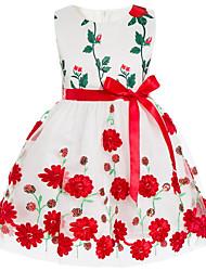 abordables -Robe Fille de Quotidien Vacances Fleur Coton Polyester Printemps Eté Sans Manches Mignon Actif Vert Rouge