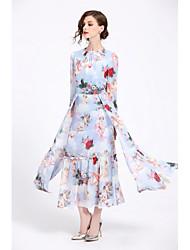 cheap -Women's Basic Sophisticated Chiffon Dress - Floral Bow Mesh Print