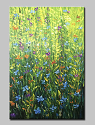 cheap -Oil Painting Hand Painted - Abstract Floral/Botanical Modern Canvas