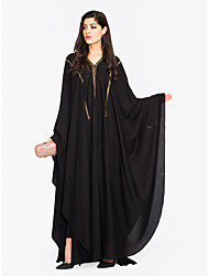 cheap -Women's Plus Size Sophisticated Street chic Loose Shift Swing Abaya Dress - Solid Colored Black, Lace up High Waist Maxi V Neck