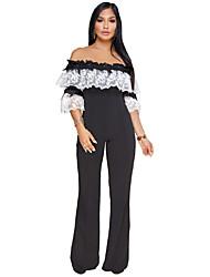 abordables -Femme Grandes Tailles Sortie Chic de Rue Ample Combinaison-pantalon - Dentelle Brodée Mosaïque, Couleur Pleine Bateau Ample
