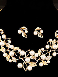 cheap -Women's Rhinestone Imitation Pearl Floral Leaf Jewelry Set 1 Necklace / Earrings - Floral / Sweet Gold / Silver Jewelry Set For Wedding /