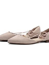 povoljno -Žene Cipele Koža Proljeće Jesen Udobne cipele Ravne cipele Niska potpetica Krakova Toe Ukrasna trakica za Kauzalni Zlato Crn Nude