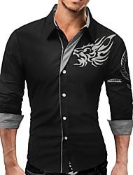 baratos -Homens Camisa Social Negócio Básico Estampado,Animal