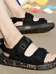 abordables -Homme Chaussures Synthétique / Tissu Eté Confort / Semelles Légères Sandales Noir et Or / Noir / blanc